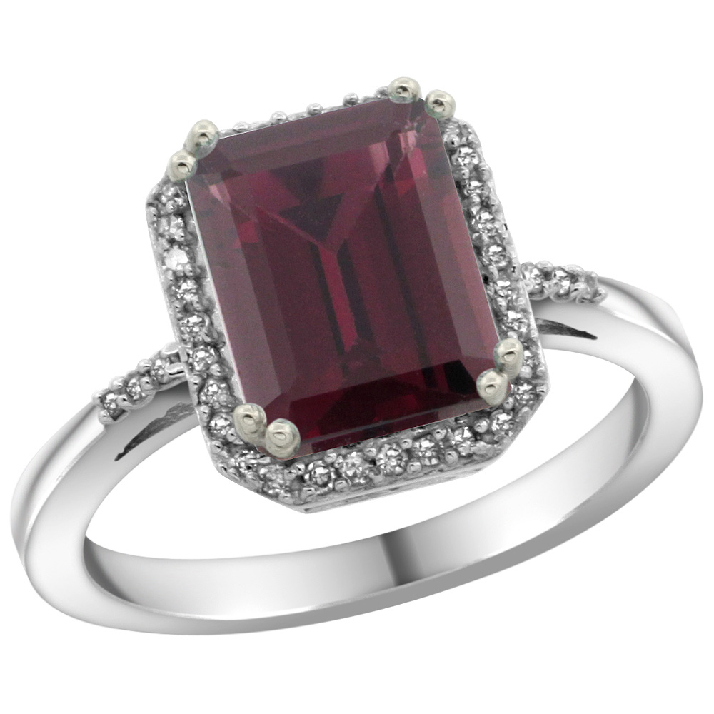 Sterling Silver Diamond Natural Rhodolite Ring Emerald-cut 9x7mm, 1/2 inch wide, sizes 5-10
