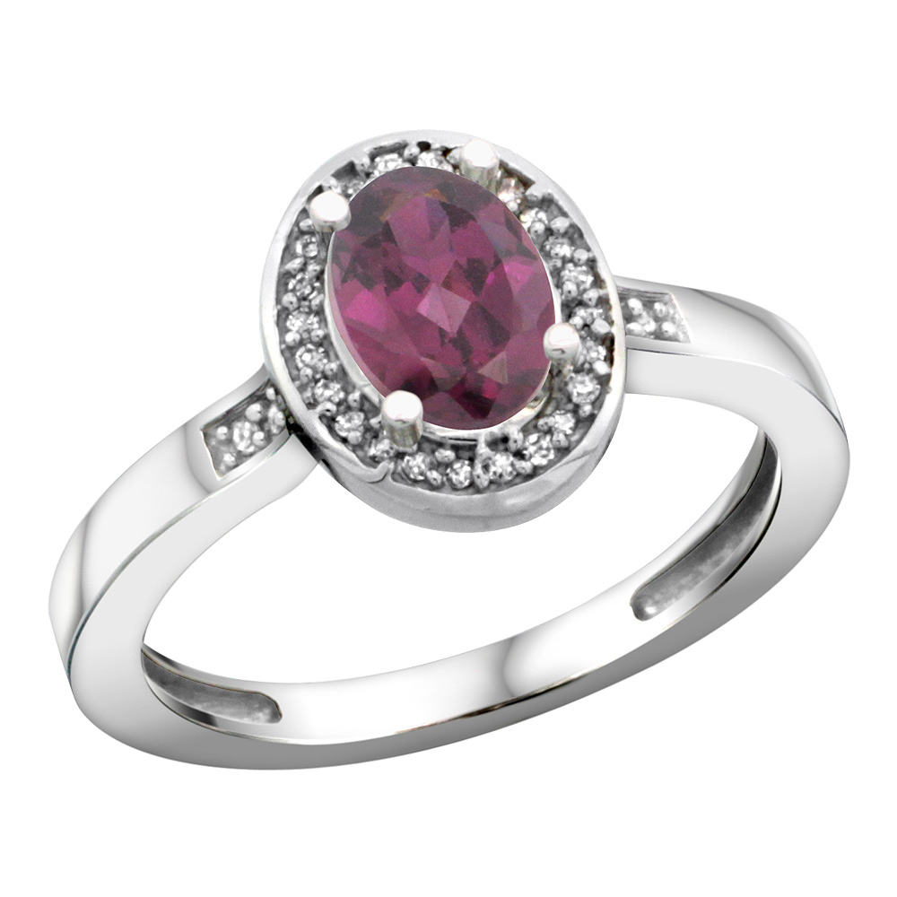 Sterling Silver Diamond Natural Rhodolite Ring Oval 7x5mm, 1/2 inch wide, sizes 5-10