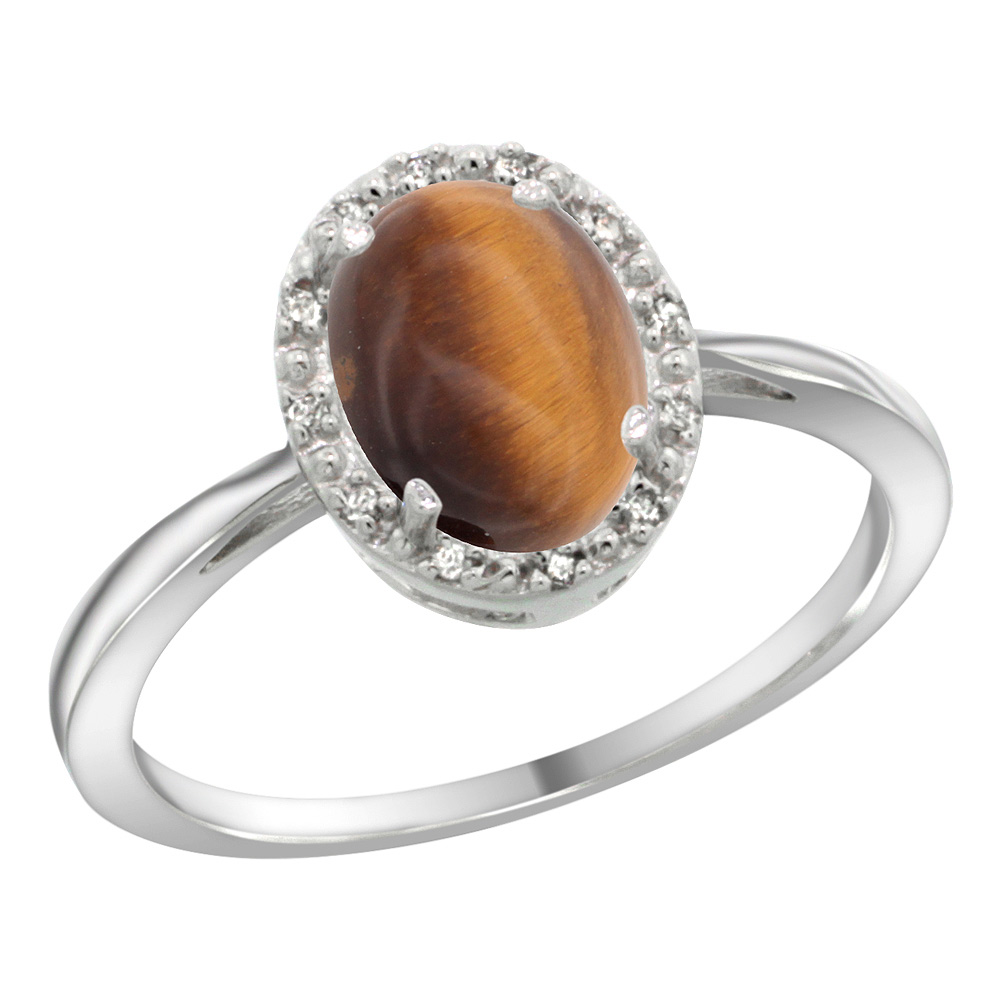 Sterling Silver Natural Tiger Eye Diamond Halo Ring Oval 8X6mm, 1/2 inch wide, sizes 5-10