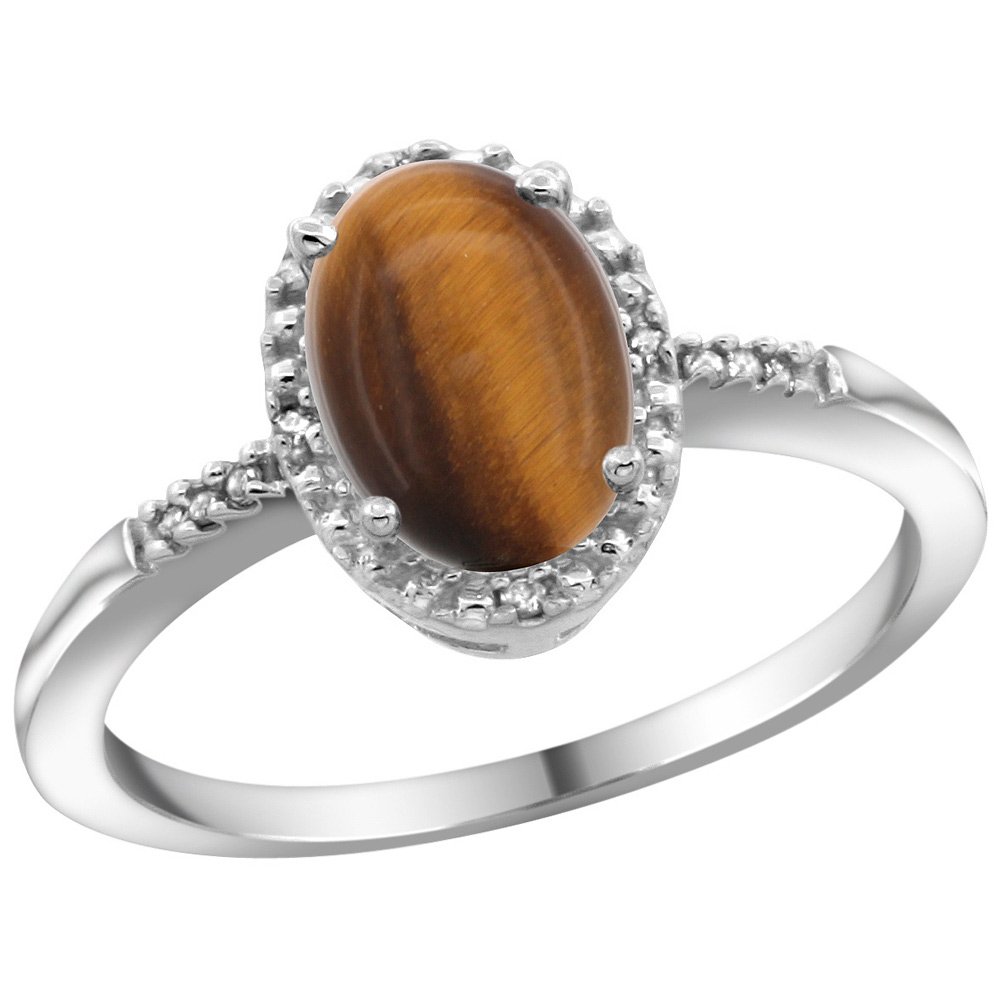 Sterling Silver Diamond Natural Tiger Eye Ring Oval 8x6mm, 3/8 inch wide, sizes 5-10