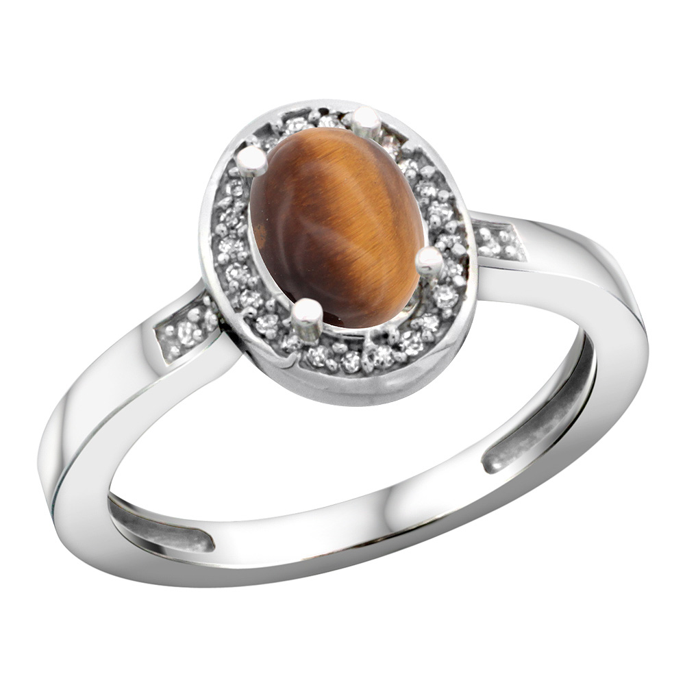 Sterling Silver Diamond Natural Tiger Eye Ring Oval 7x5mm, 1/2 inch wide, sizes 5-10