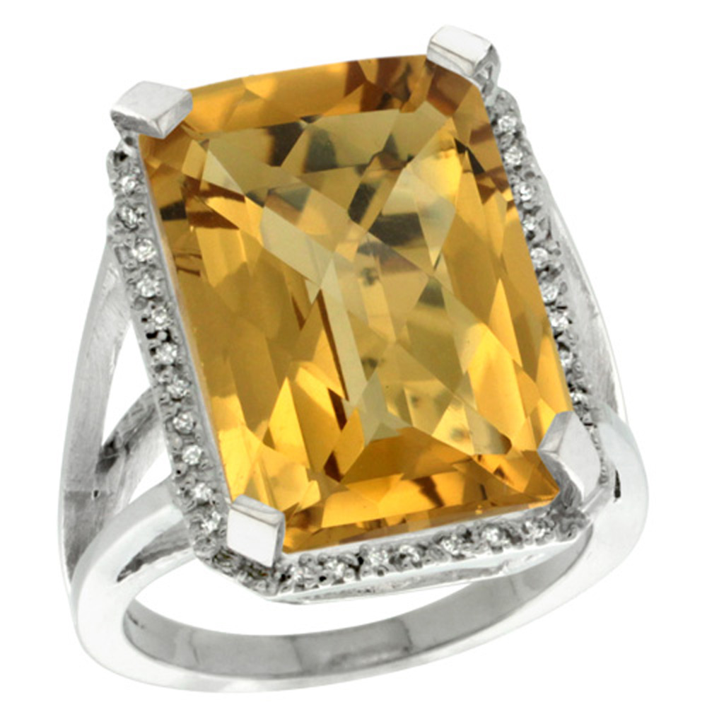 Sterling Silver Diamond Natural Whisky Quartz Ring Emerald-cut 18x13mm, 13/16 inch wide, sizes 5-10