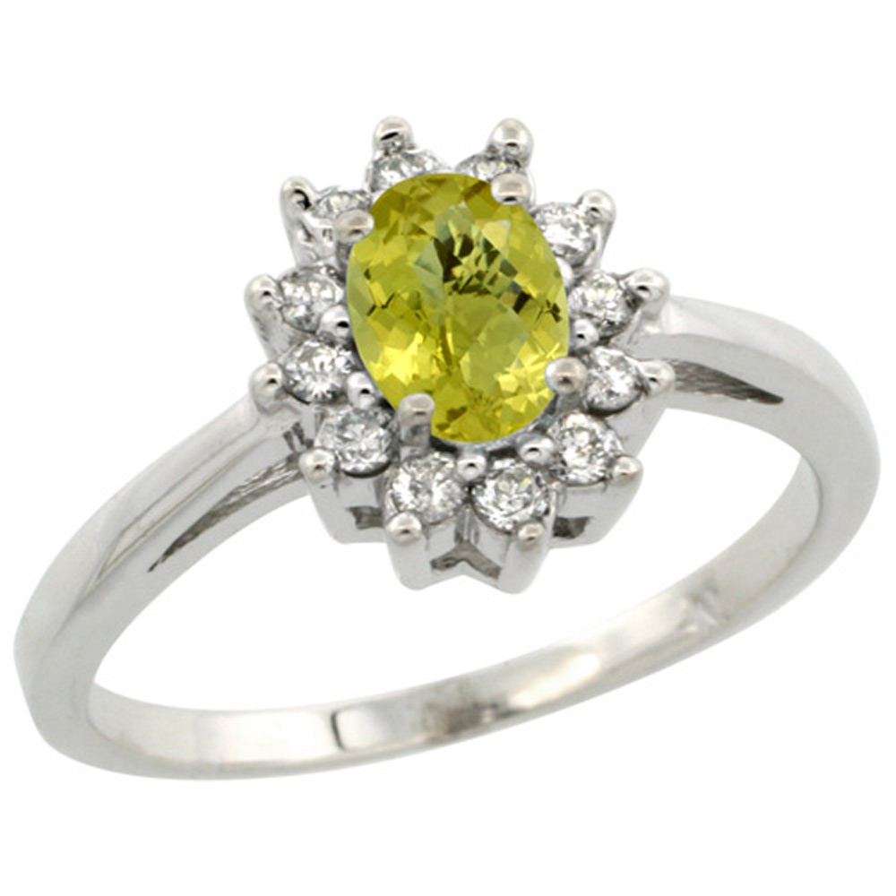 Sterling Silver Natural Lemon Quartz Diamond Flower Halo Ring Oval 6X4mm, 3/8 inch wide, sizes 5 10