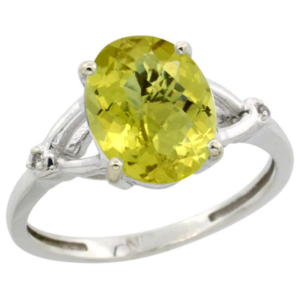 Sterling Silver Diamond Natural Lemon Quartz Ring Oval 10x8mm, 3/8 inch wide, sizes 5-10