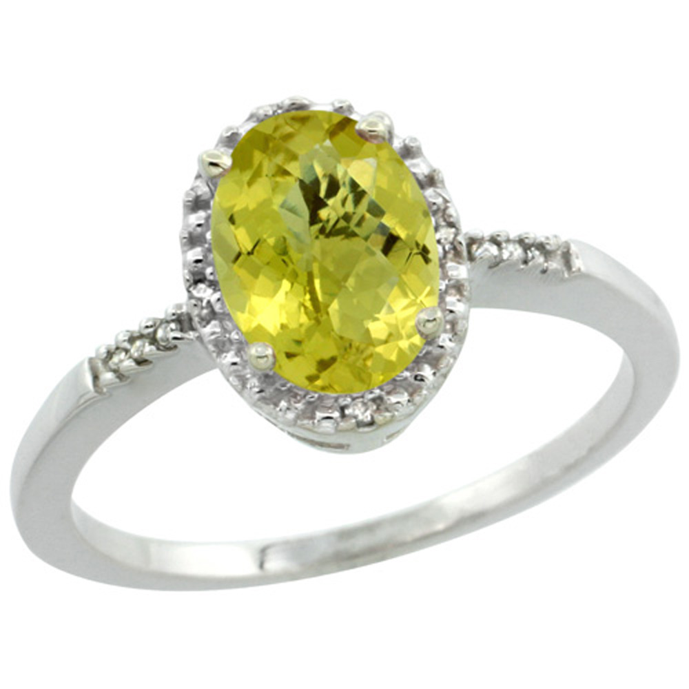 Sterling Silver Diamond Natural Lemon Quartz Ring Oval 8x6mm, 3/8 inch wide, sizes 5-10