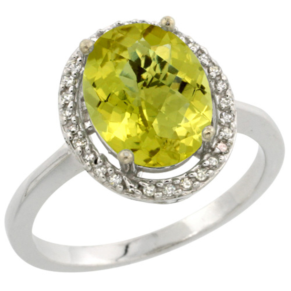 Sterling Silver Diamond Natural Lemon Quartz Ring Oval 10x8mm, 1/2 inch wide, sizes 5-10