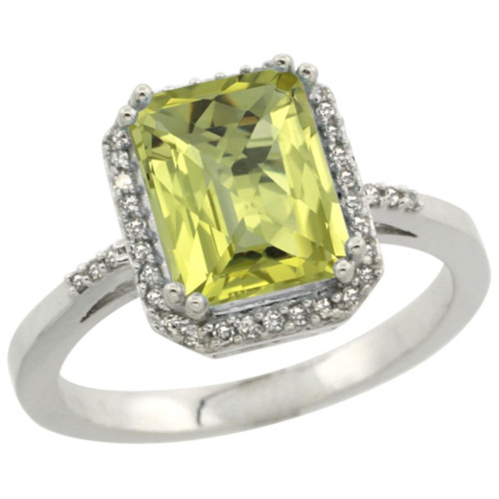 Sterling Silver Diamond Natural Lemon Quartz Ring Emerald-cut 9x7mm, 1/2 inch wide, sizes 5-10