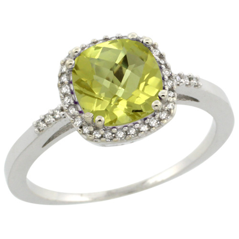 Sterling Silver Diamond Natural Lemon Quartz Ring Cushion-cut 7x7mm, 3/8 inch wide, sizes 5-10