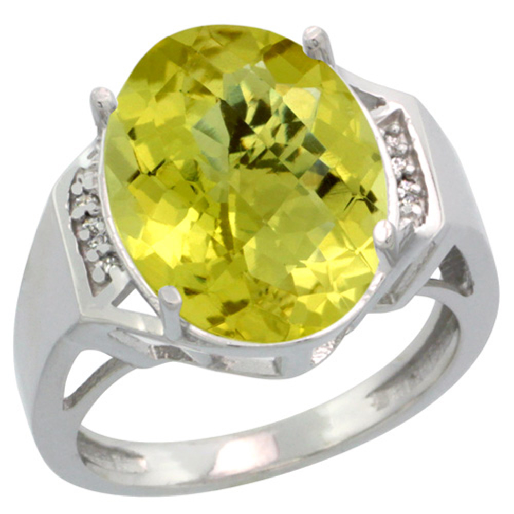 Sterling Silver Diamond Natural Lemon Quartz Ring Oval 16x12mm, 5/8 inch wide, sizes 5-10