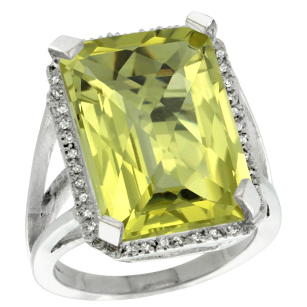 Sterling Silver Diamond Natural Lemon Quartz Ring Emerald-cut 18x13mm, 13/16 inch wide, sizes 5-10