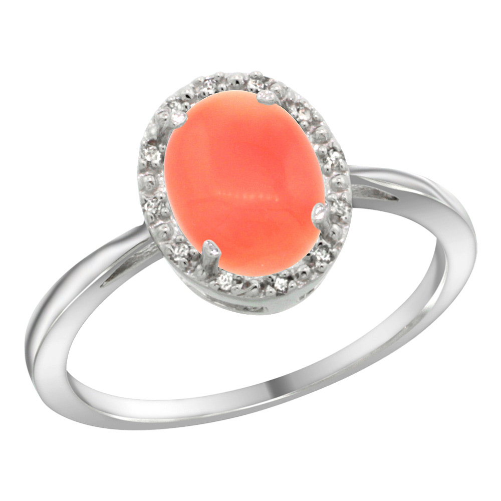 Sterling Silver Natural Coral Diamond Halo Ring Oval 8X6mm, 1/2 inch wide, sizes 5 10