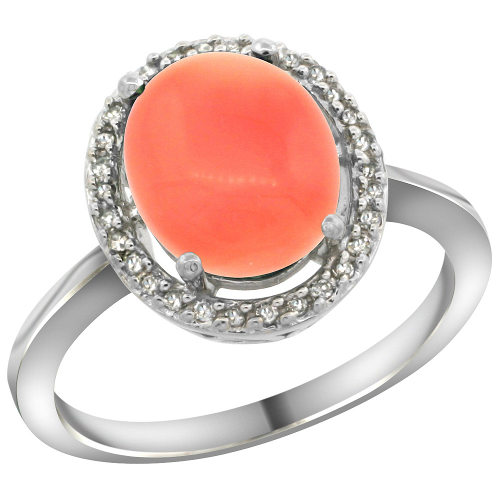 Sterling Silver Diamond Halo Natural Coral Ring Oval 10X8 mm, 1/2 inch wide, sizes 5 10