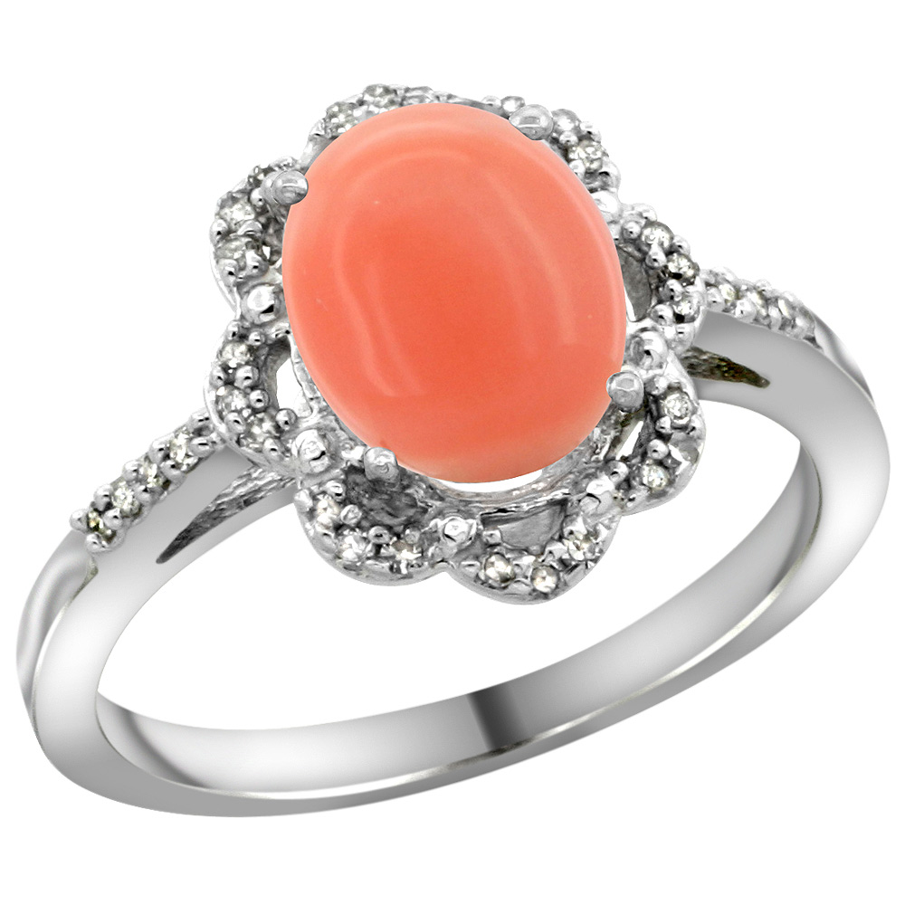 Sterling Silver Diamond Halo Natural Coral Ring Oval 9x7mm, 7/16 inch wide, sizes 5-10