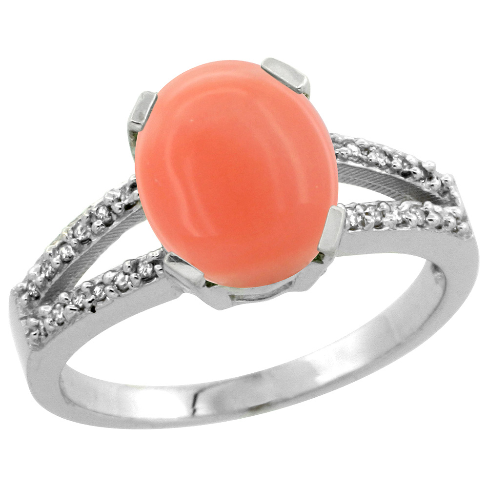 Sterling Silver Diamond Halo Natural Coral Ring Oval 10x8mm, 3/8 inch wide, sizes 5-10