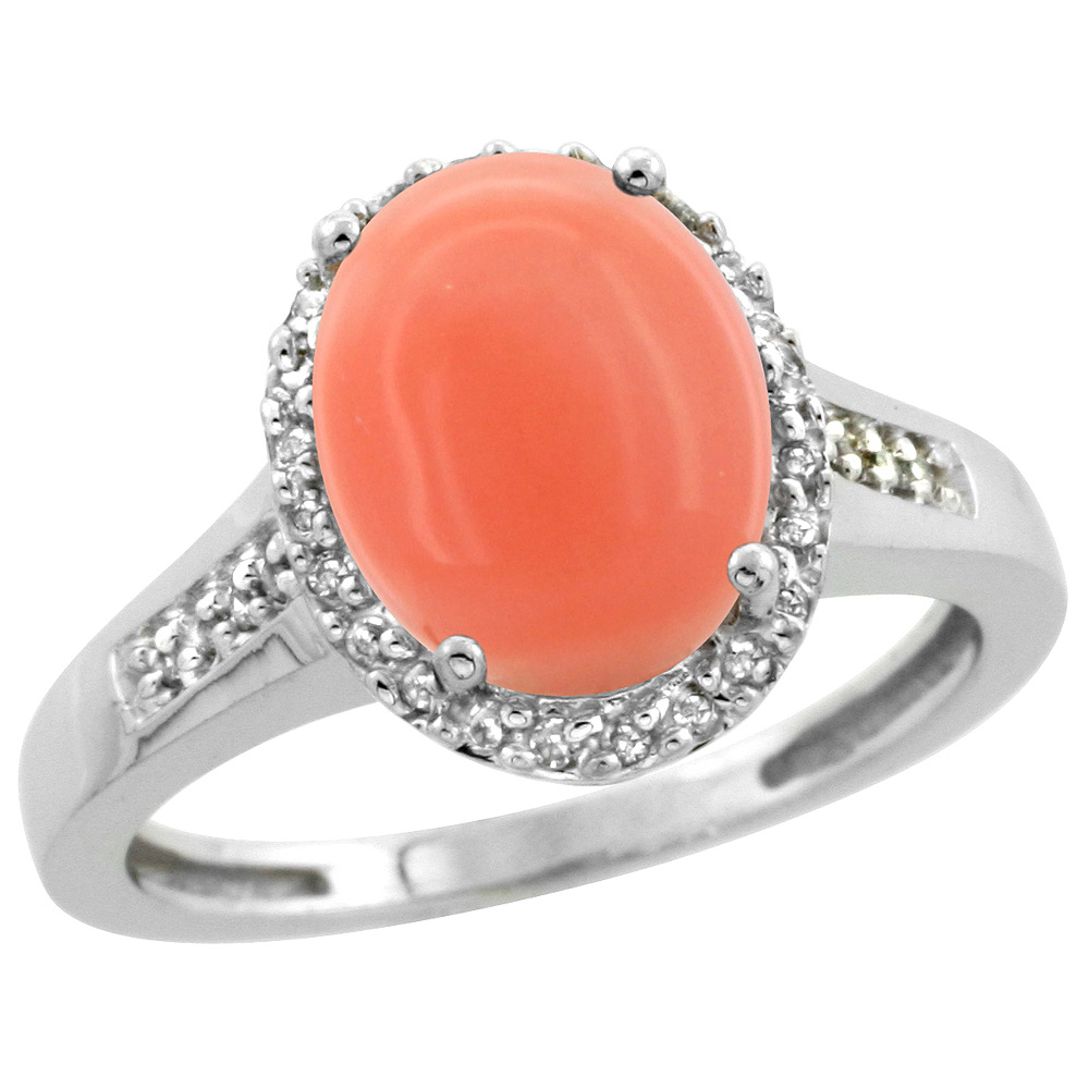 Sterling Silver Diamond Natural Coral Ring Oval 10x8mm, 1/2 inch wide, sizes 5-10
