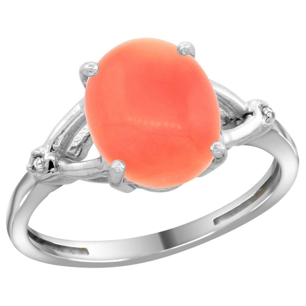 Sterling Silver Diamond Natural Coral Ring Oval 10x8mm, 3/8 inch wide, sizes 5-10