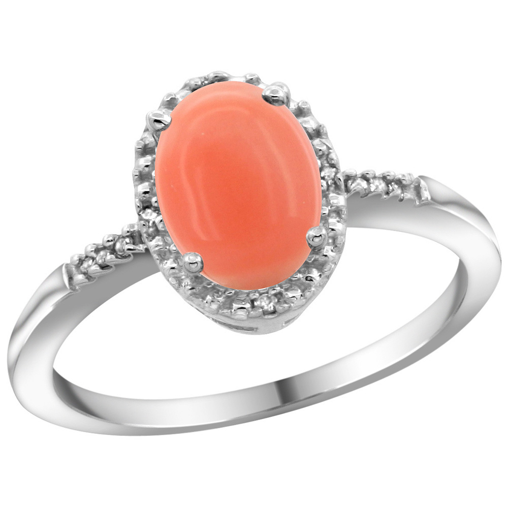 Sterling Silver Diamond Natural Coral Ring Oval 8x6mm, 3/8 inch wide, sizes 5-10