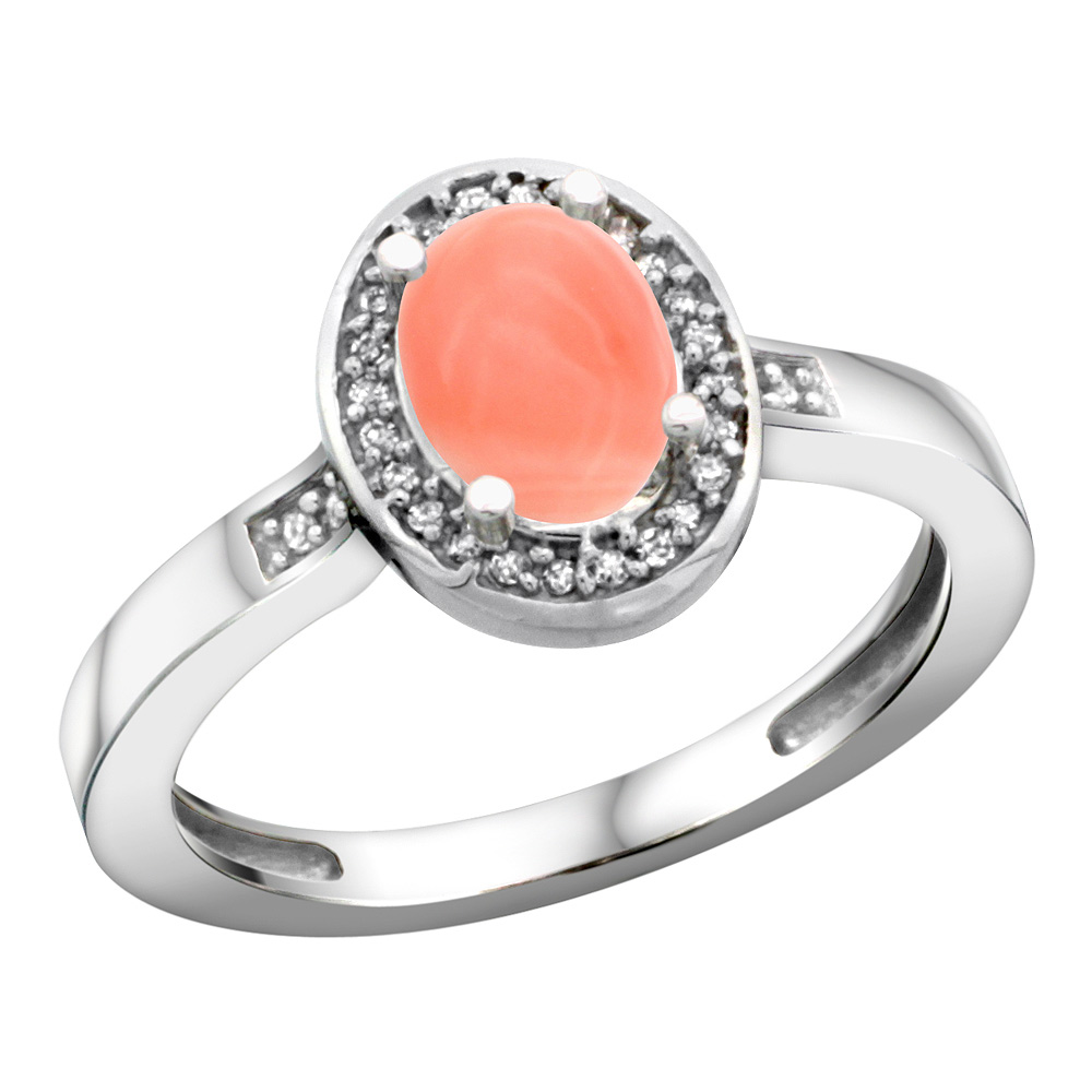 Sterling Silver Diamond Natural Coral Ring Oval 7x5mm, 1/2 inch wide, sizes 5-10