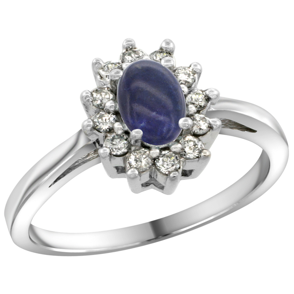 Sterling Silver Natural Lapis Diamond Flower Halo Ring Oval 6X4mm, 3/8 inch wide, sizes 5 10