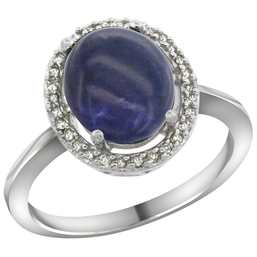 Sterling Silver Diamond Halo Natural Lapis Ring Oval 10X8 mm, 1/2 inch wide, sizes 5 10
