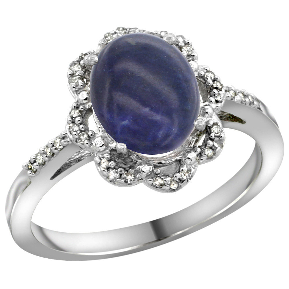 Sterling Silver Diamond Halo Natural Lapis Ring Oval 9x7mm, 7/16 inch wide, sizes 5-10