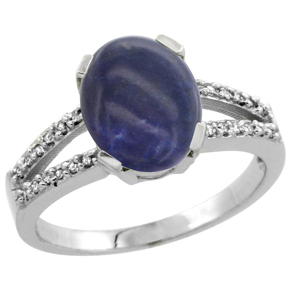 Sterling Silver Diamond Halo Natural Lapis Ring Oval 10x8mm, 3/8 inch wide, sizes 5-10