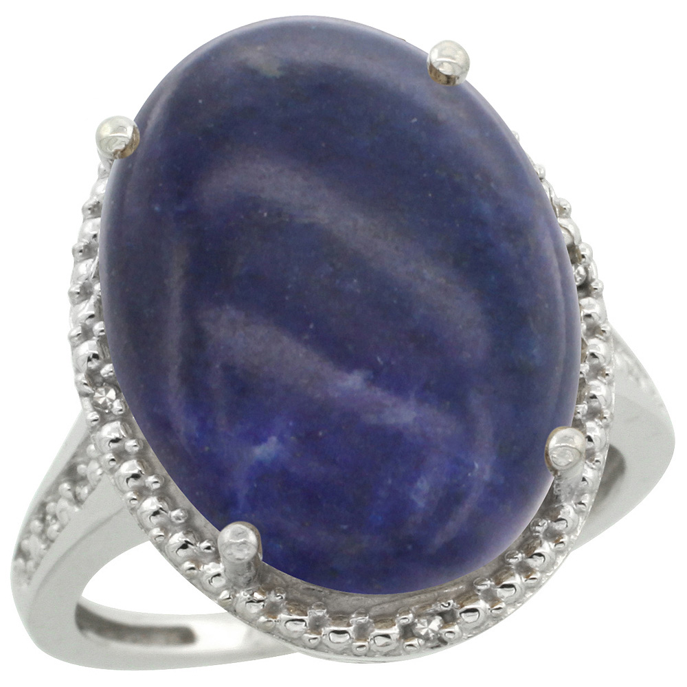 Sterling Silver Diamond Natural Lapis Ring Oval 18x13mm, 3/4 inch wide, sizes 5-10