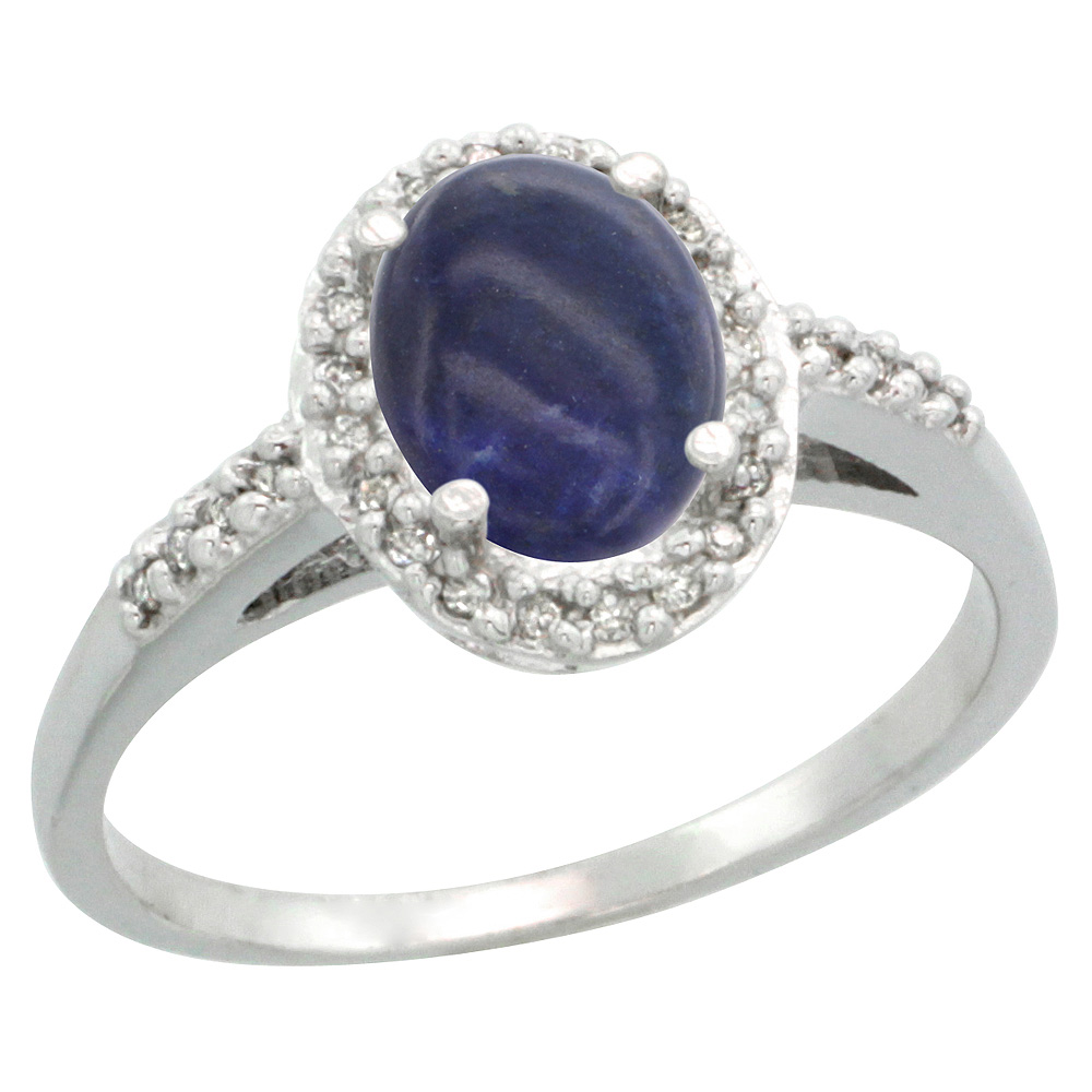 Sterling Silver Diamond Natural Lapis Ring Oval 8x6mm, 3/8 inch wide, sizes 5-10