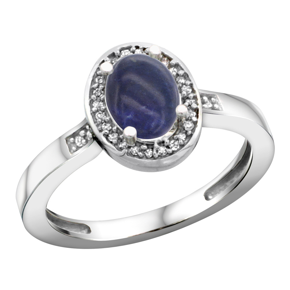 Sterling Silver Diamond Natural Lapis Ring Oval 7x5mm, 1/2 inch wide, sizes 5-10