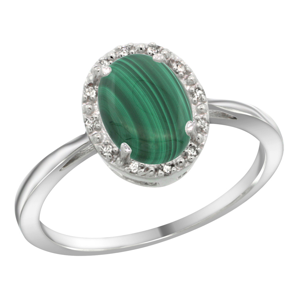 Sterling Silver Natural Malachite Diamond Halo Ring Oval 8X6mm, 1/2 inch wide, sizes 5 10