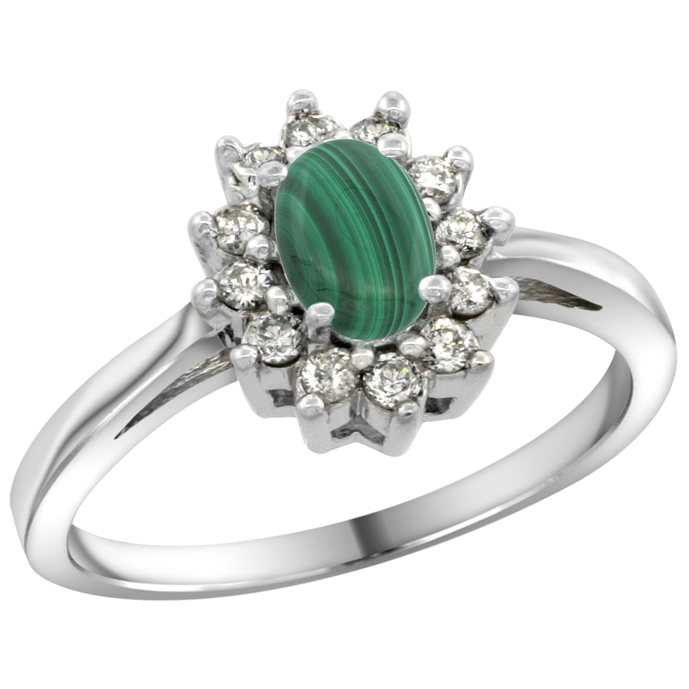 Sterling Silver Natural Malachite Diamond Flower Halo Ring Oval 6X4mm, 3/8 inch wide, sizes 5 10