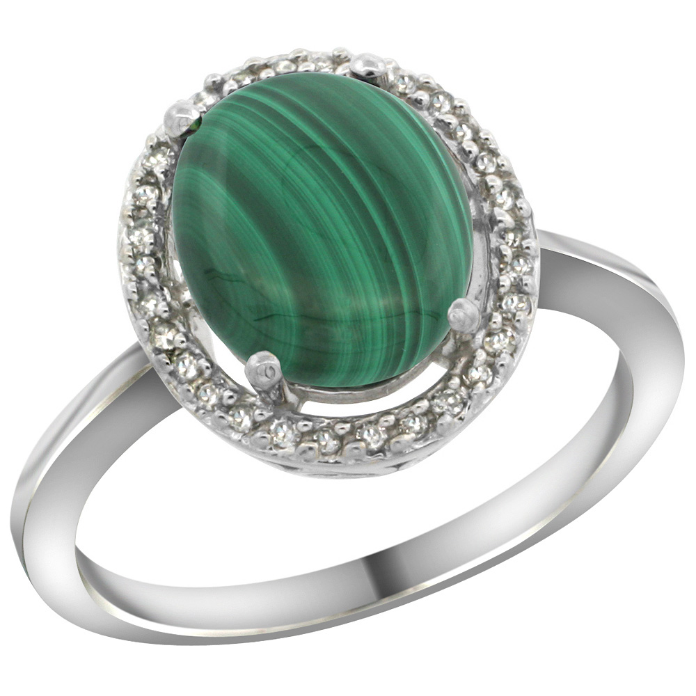 Sterling Silver Diamond Halo Natural Malachite Ring Oval 10X8 mm, 1/2 inch wide, sizes 5 10