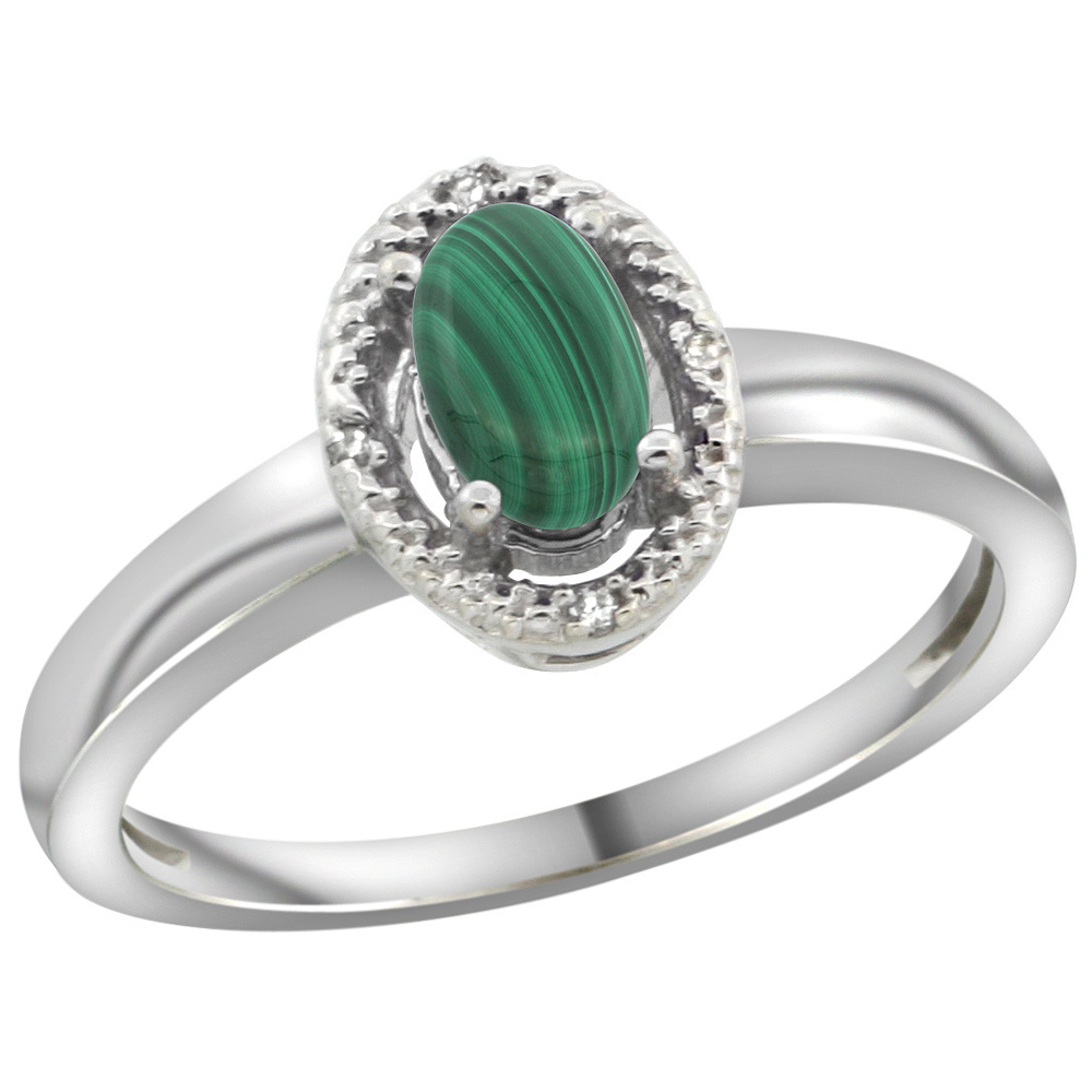 Sterling Silver Diamond Halo Natural Malachite Ring Oval 6X4 mm, 3/8 inch wide, sizes 5-10