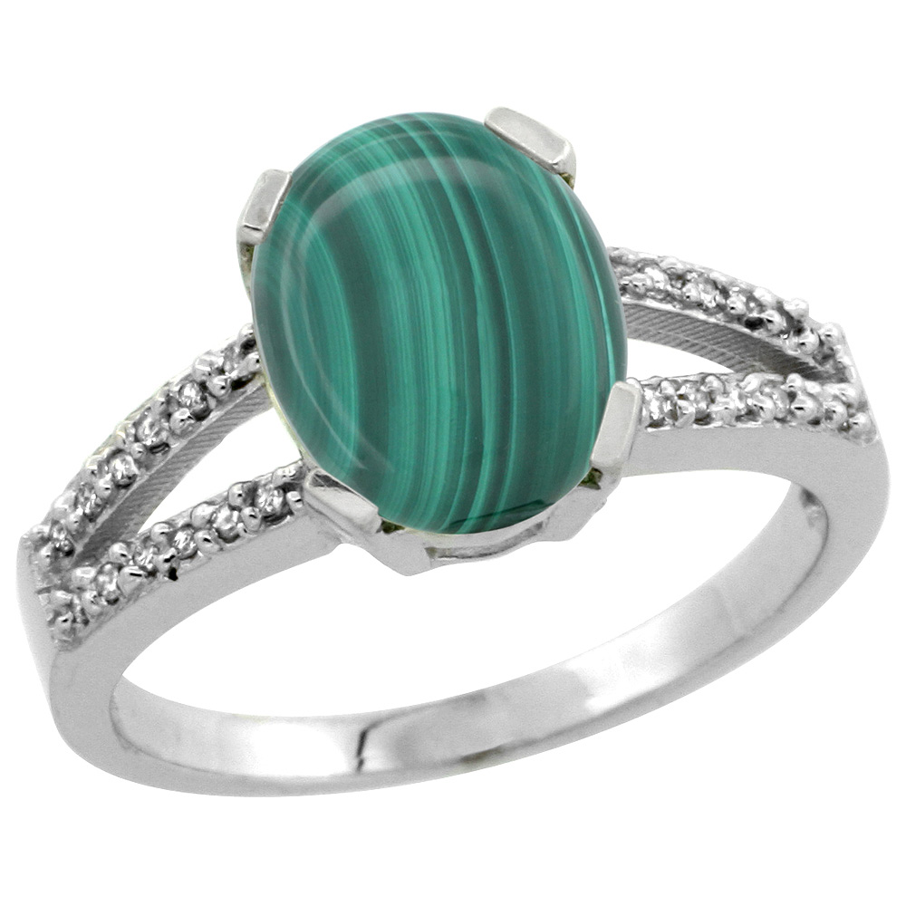 Sterling Silver Diamond Halo Natural Malachite Ring Oval 10x8mm, 3/8 inch wide, sizes 5-10