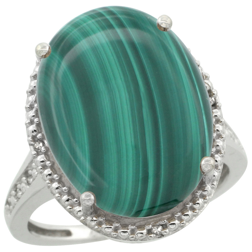 Sterling Silver Diamond Natural Malachite Ring Oval 18x13mm, 3/4 inch wide, sizes 5-10