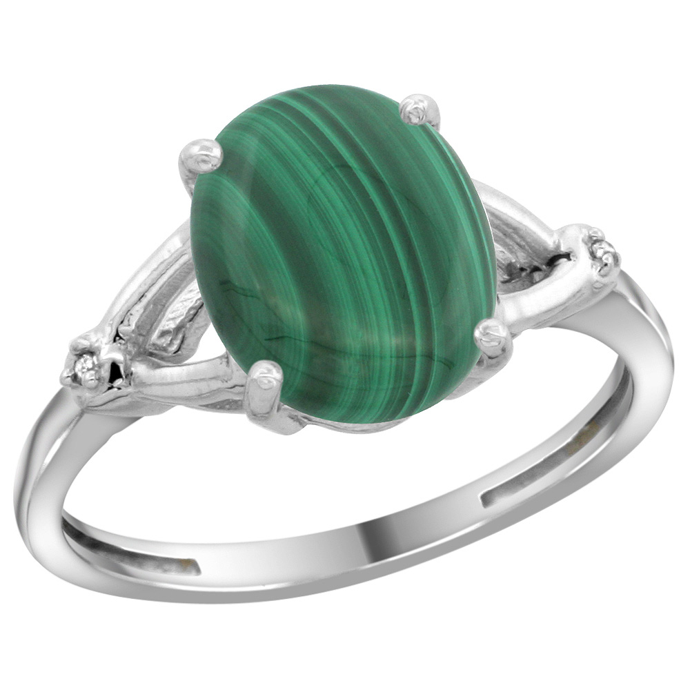 Sterling Silver Diamond Natural Malachite Ring Oval 10x8mm, 3/8 inch wide, sizes 5-10