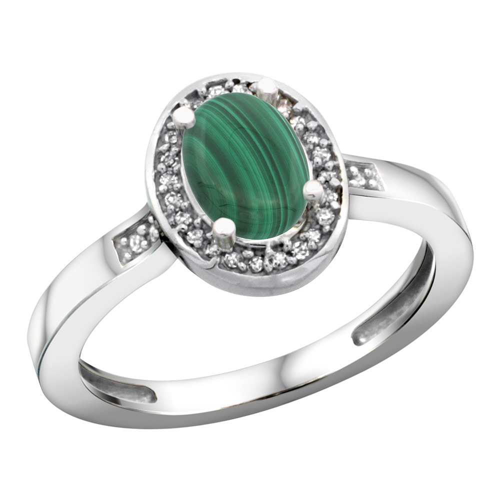 Sterling Silver Diamond Natural Malachite Ring Oval 7x5mm, 1/2 inch wide, sizes 5-10