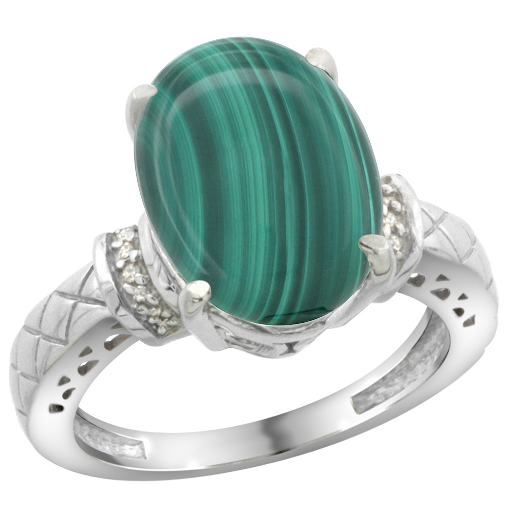 Sterling Silver Diamond Natural Malachite Ring Oval 14x10mm, sizes 5-10