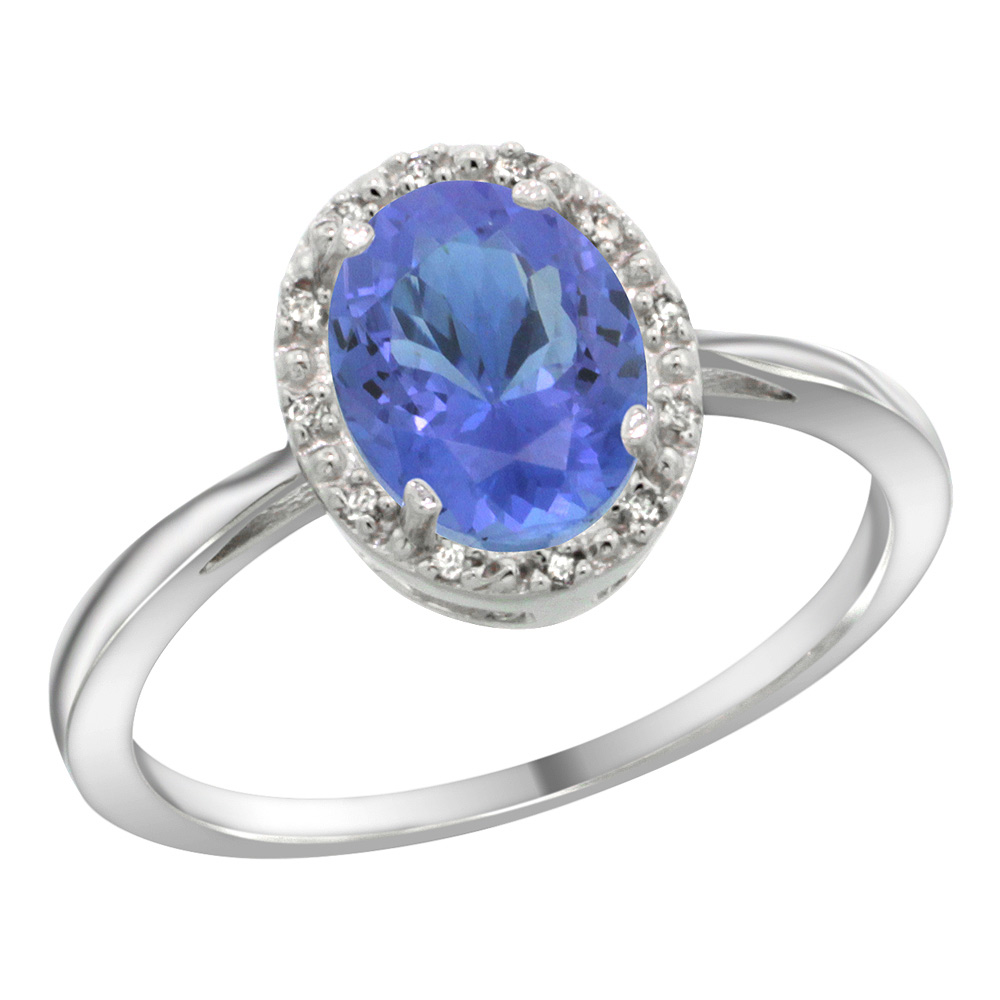 Sterling Silver Natural Tanzanite Diamond Halo Ring Oval 8X6mm, 1/2 inch wide, sizes 5 10