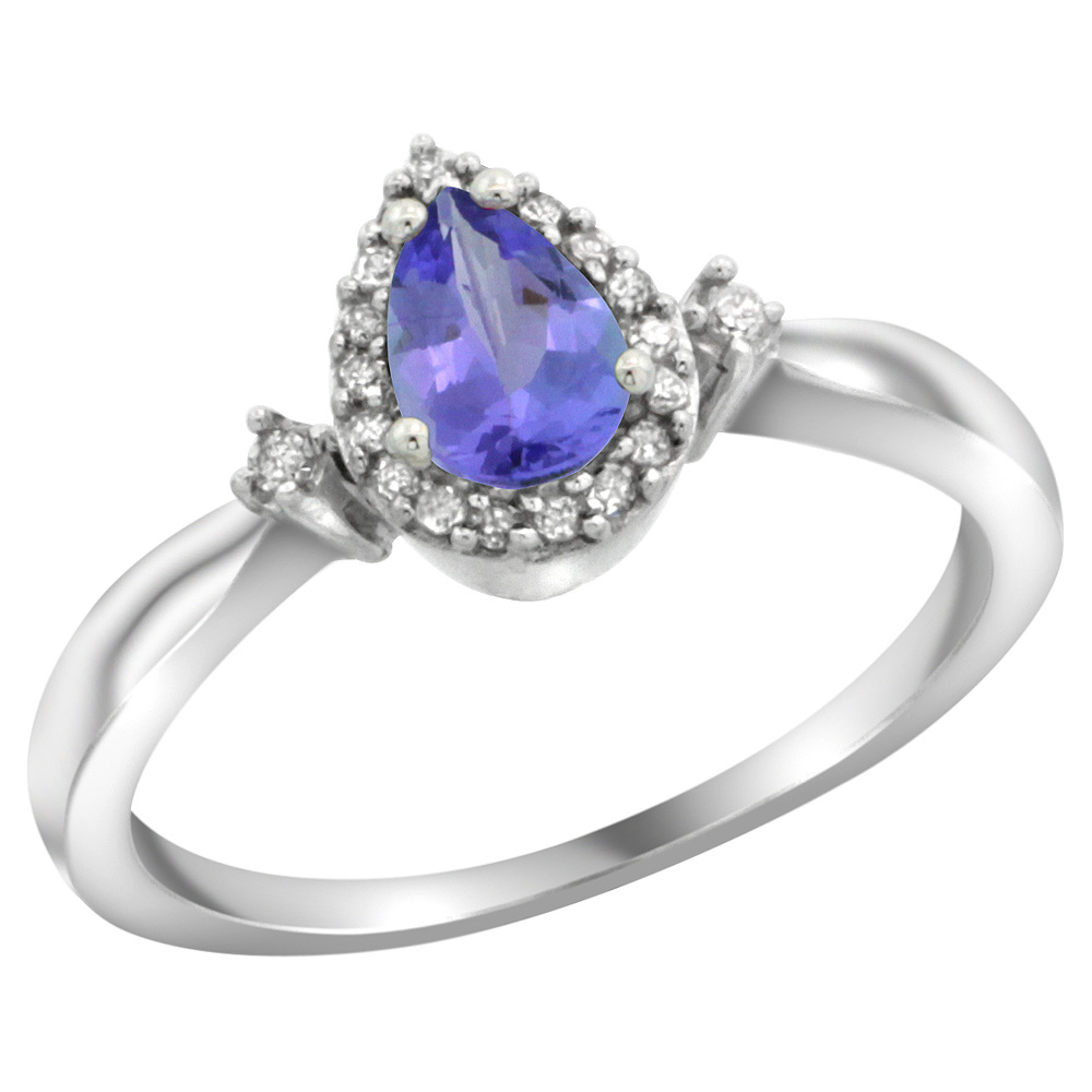 Sterling Silver Diamond Natural Tanzanite Ring Pear 6x4mm, 3/8 inch wide, sizes 5-10