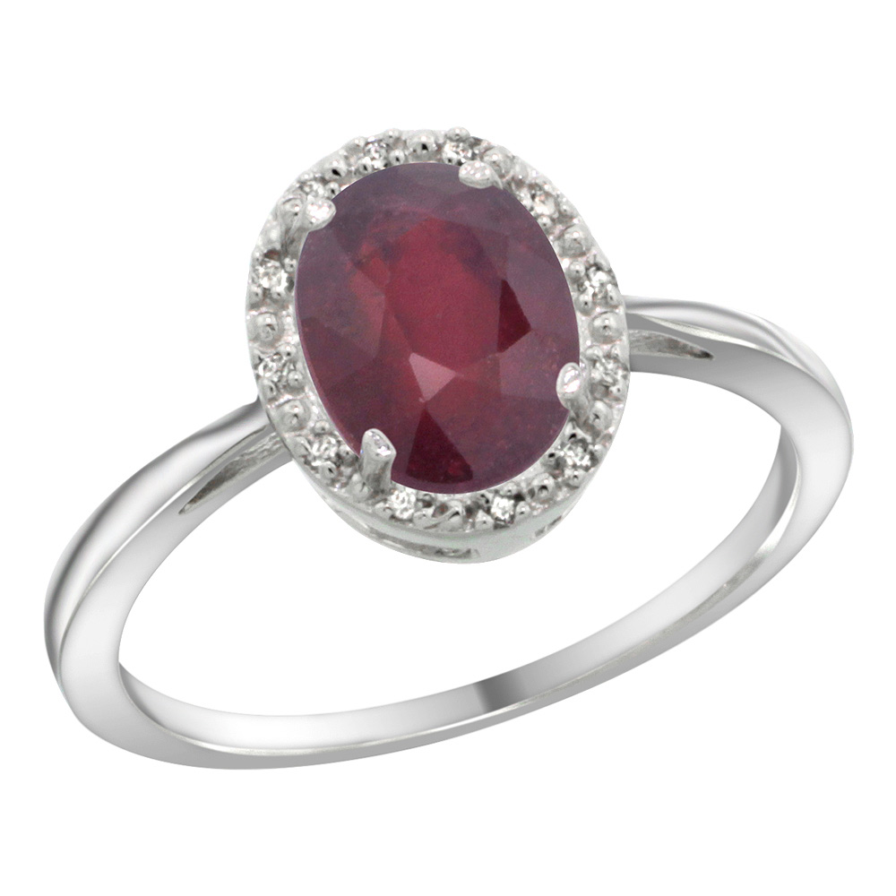 Sterling Silver Natural High Quality Ruby Diamond Halo Ring Oval 8X6mm, 1/2 inch wide, sizes 5-10