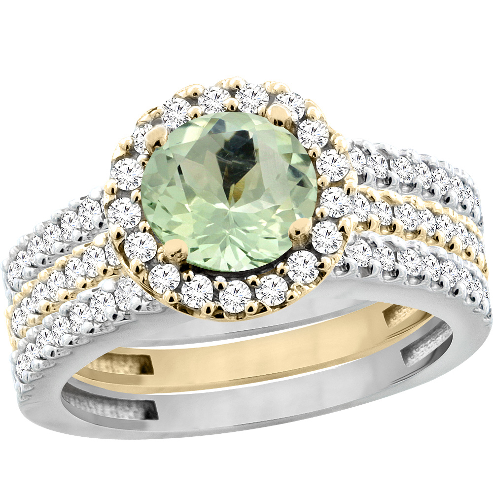 10K Gold Natural Green Amethyst 3-Piece Ring Set Two-tone Round 6mm Halo Diamond, sizes 5 - 10