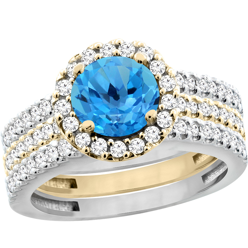 14K Gold Natural Swiss Blue Topaz 3-Piece Ring Set Two-tone Round 6mm Halo Diamond, sizes 5 - 10