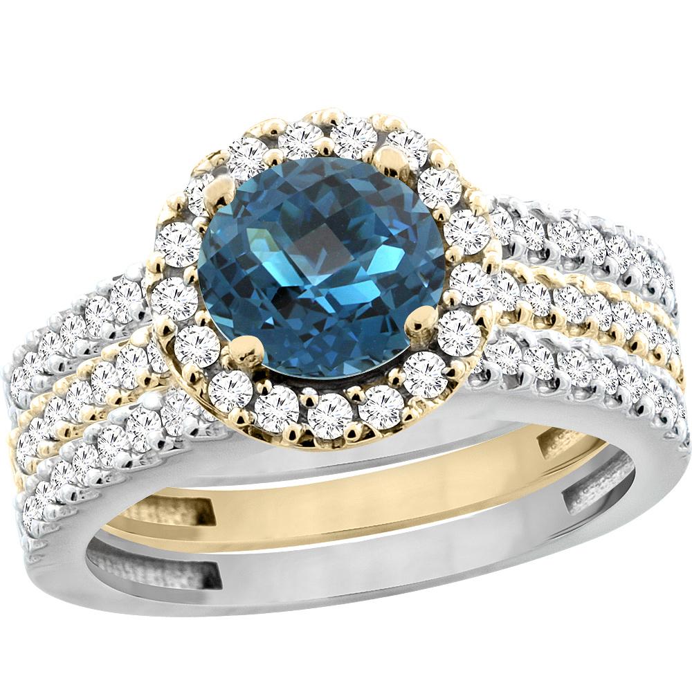 10K Yellow Gold Diamond JewelryColor Gemstone RingsLondon Blue Topaz