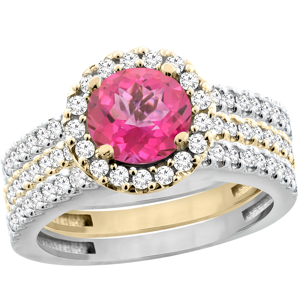 14K Yellow Gold Diamond Jewelry-Color Gemstone Rings-Pink Topaz