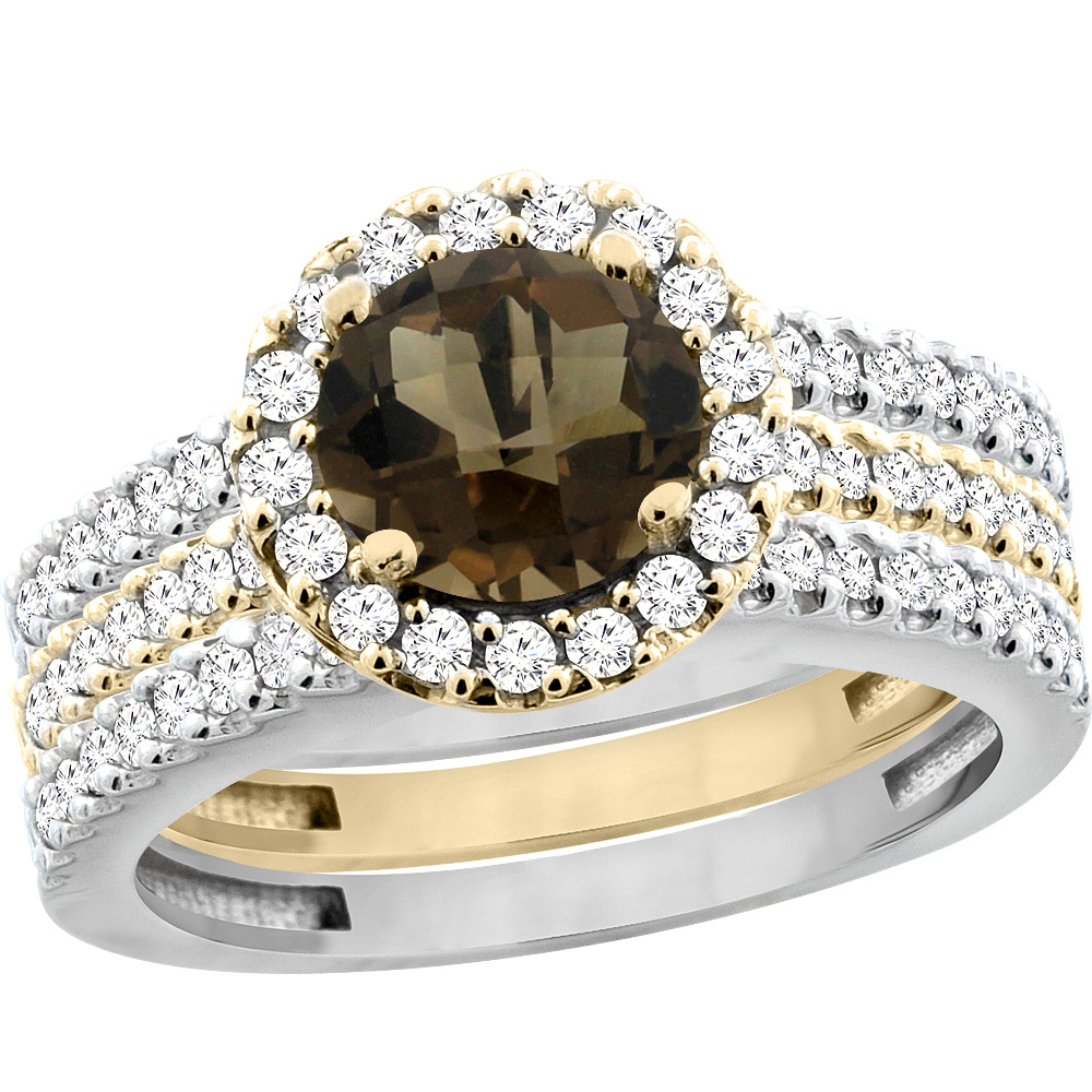 14K Gold Natural Smoky Topaz 3-Piece Ring Set Two-tone Round 6mm Halo Diamond, sizes 5 - 10