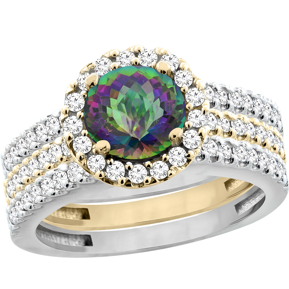 10K Gold Natural Mystic Topaz 3-Piece Ring Set Two-tone Round 6mm Halo Diamond, sizes 5 - 10