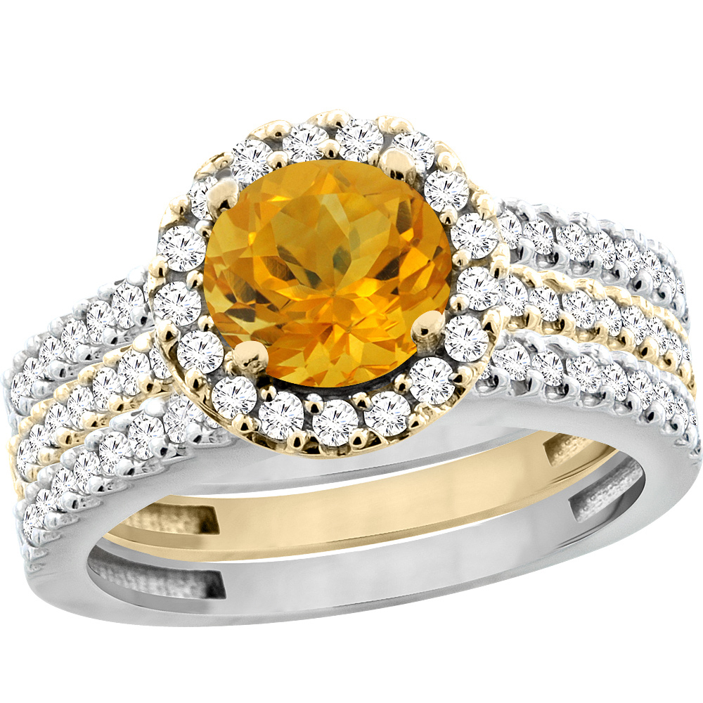 10K Gold Natural Citrine 3-Piece Ring Set Two-tone Round 6mm Halo Diamond, sizes 5 - 10
