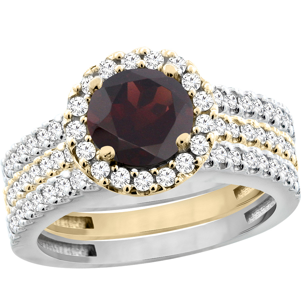 14K Gold Natural Garnet 3-Piece Ring Set Two-tone Round 6mm Halo Diamond, sizes 5 - 10