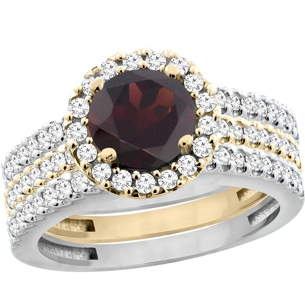 14K Gold Natural Garnet 3-Piece Ring Set Two-tone Round 6mm Halo Diamond, sizes 5 - 10